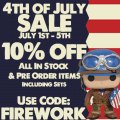 4th of July – Summer Sale at Capsule Corp Comics July 1st – July 5th!